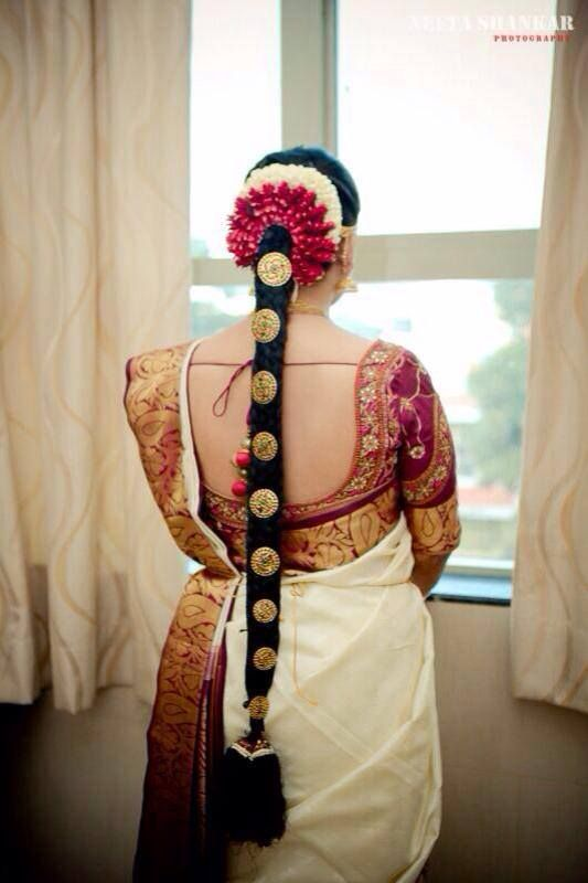 Traditional Southern Indian Bride's Bridal Braid Hair Hairstyle