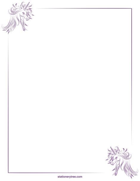 Printable unicorn stationery and writing paper. Free PDF