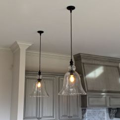 Hanging Lights Kitchen Double Sinks Large Glass Bell Pendant Estess New Orleans