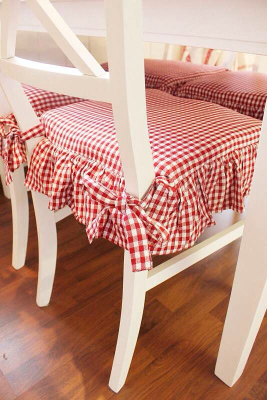 reupholster dining room chair seat desk chairs on sale pretty red and white gingham check kitchen cushions. | :: accessories ...