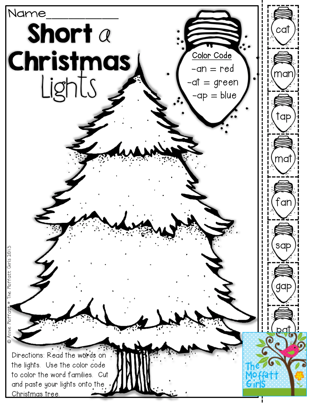 Short vowel Christmas lights (Color, cut and paste!) TONS