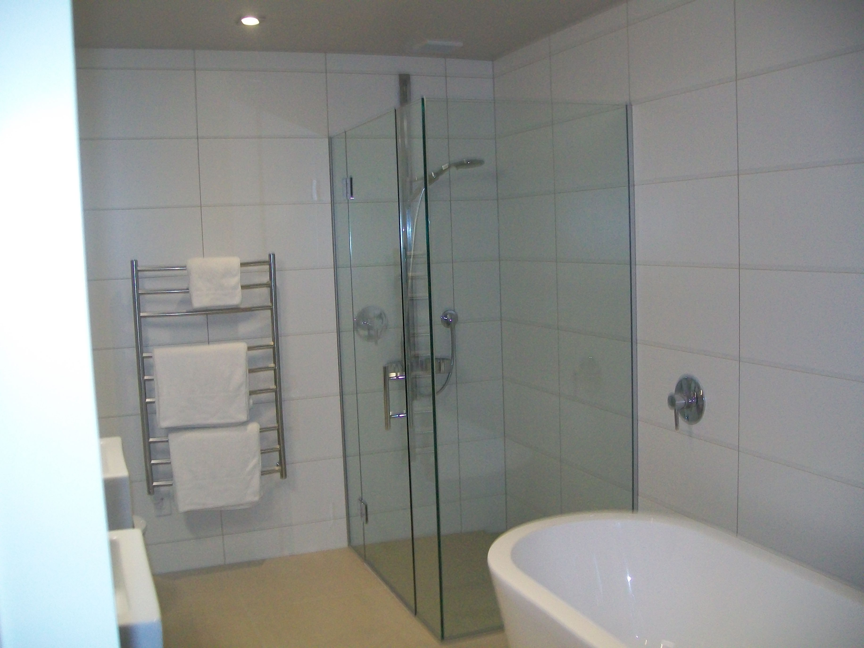 White Bathroom Tiles Grey Grout With Wonderful Type