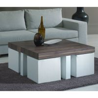 Coffee table with stools -- love this idea for stools ...