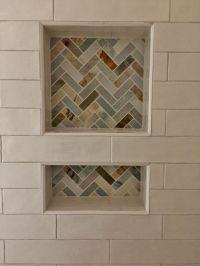 4x12 handmade ceramic tile with stone herringbone accent ...