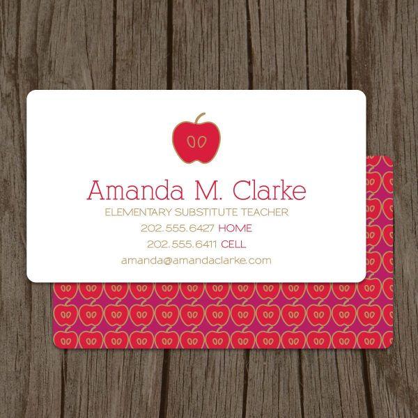 Modern Substitute Teacher Business Card Set Of 100. 48.00