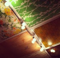 Drop ceiling panel disguised by vintage fabric at The Owls ...