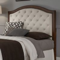 Upholstered Headboard Mahogany/Cherry Wood Camelback