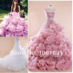 Pink Princess Ball Gown Wedding Dress Ruffle