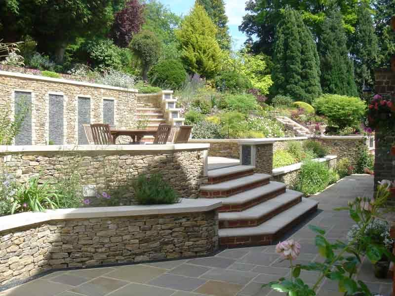 Terraces And Stone Garden Walls For A Steeply Sloped Backyard