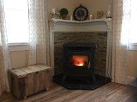 Pellet stove Corner Mantle stone wall & Rustic Pallet box ...