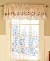 One Snowman Window Valance Winter Scene Snowflakes Holiday ...