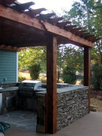 enclosed outdoor kitchen. Could build the half wall out of ...