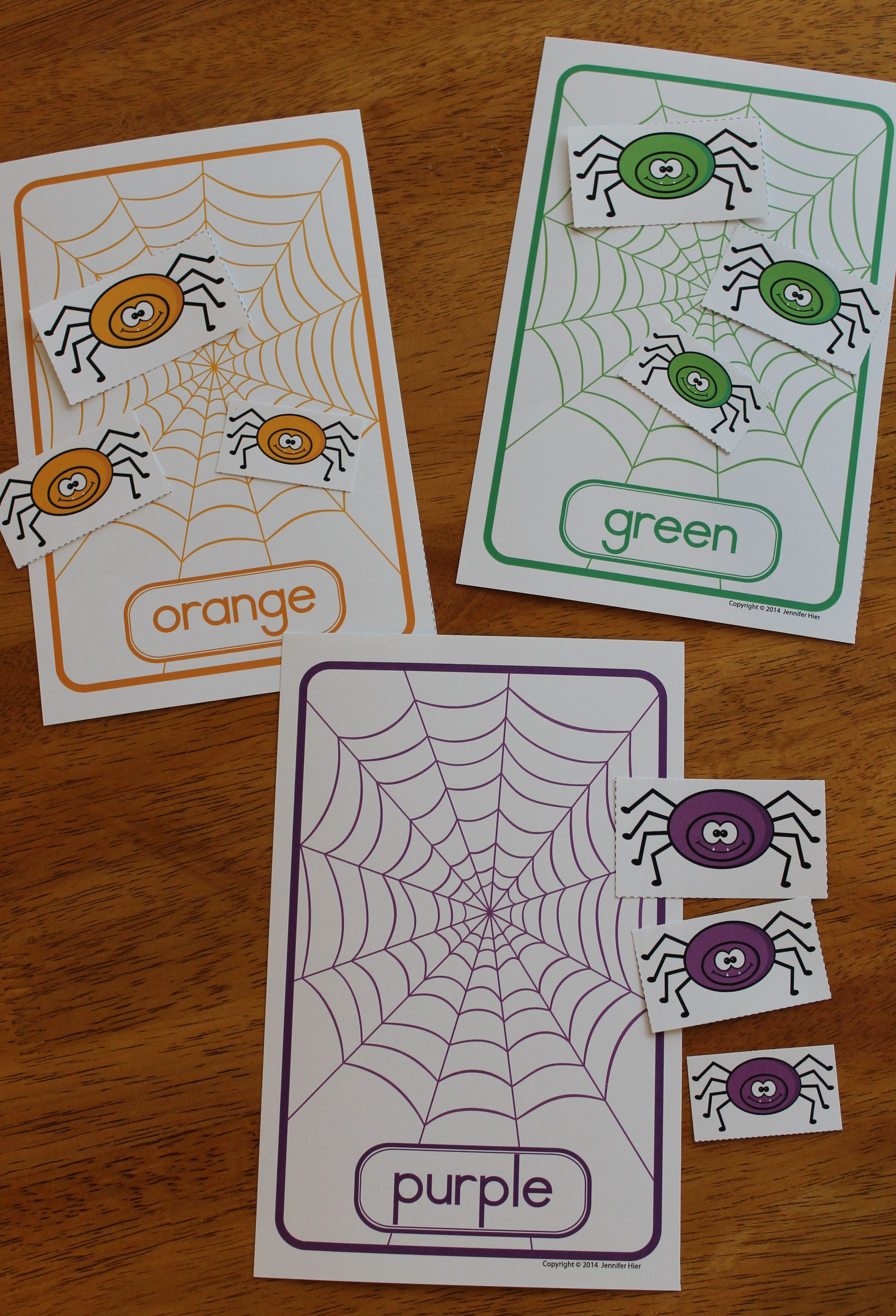 Color Matching And Size Sorting Spiders Fall Activities