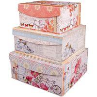 Decorative Nested Flip Top Storage Boxes Nested (Set of 3 ...