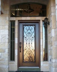 Wood and Wrought Iron Door with Transom. Front Door/ Entry ...