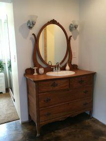 Tiger Oak Dresser Turned Vanity. Master Bathroom
