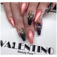 Black coffin nails glitter ombr fashion nail design ...