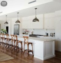French provincial kitchen with white subway tile and ...