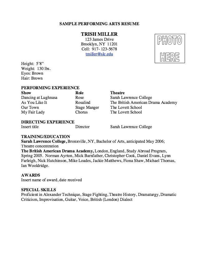 Performing Arts Resume Sample Resumesdesign Com