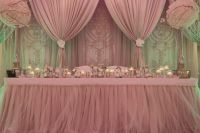 Draped backdrop. Dusty rose, light pink wedding decor. # ...