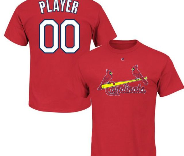St Louis Cardinals Majestic Youth Custom Roster Name Number T Shirt Red