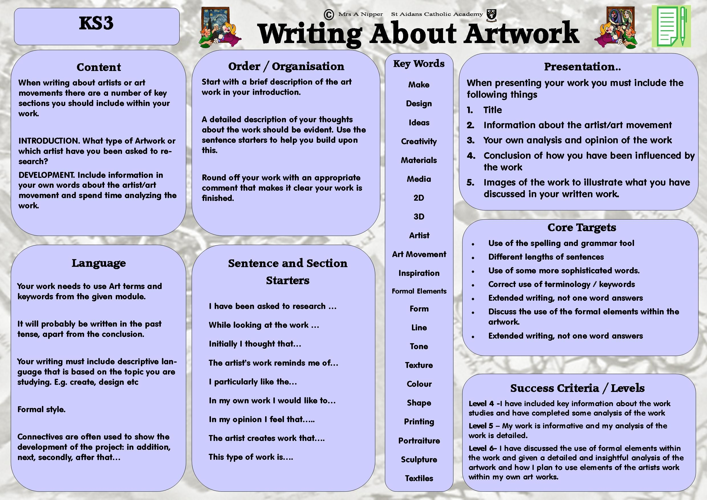 Ks3 Literacy Mat Includes Key Words And Helpful Hints For Writing About Art And Looking At