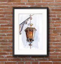 Lantern Original Watercolor Painting, Lamp Painting ...