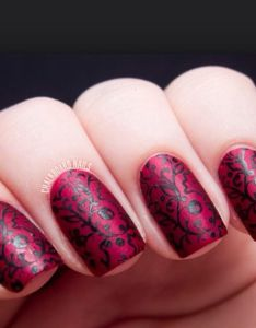Burgundy nails with black classic design also pinterest makeup rh