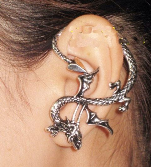 Silver dragon ear cuff earring punk jewellery animal