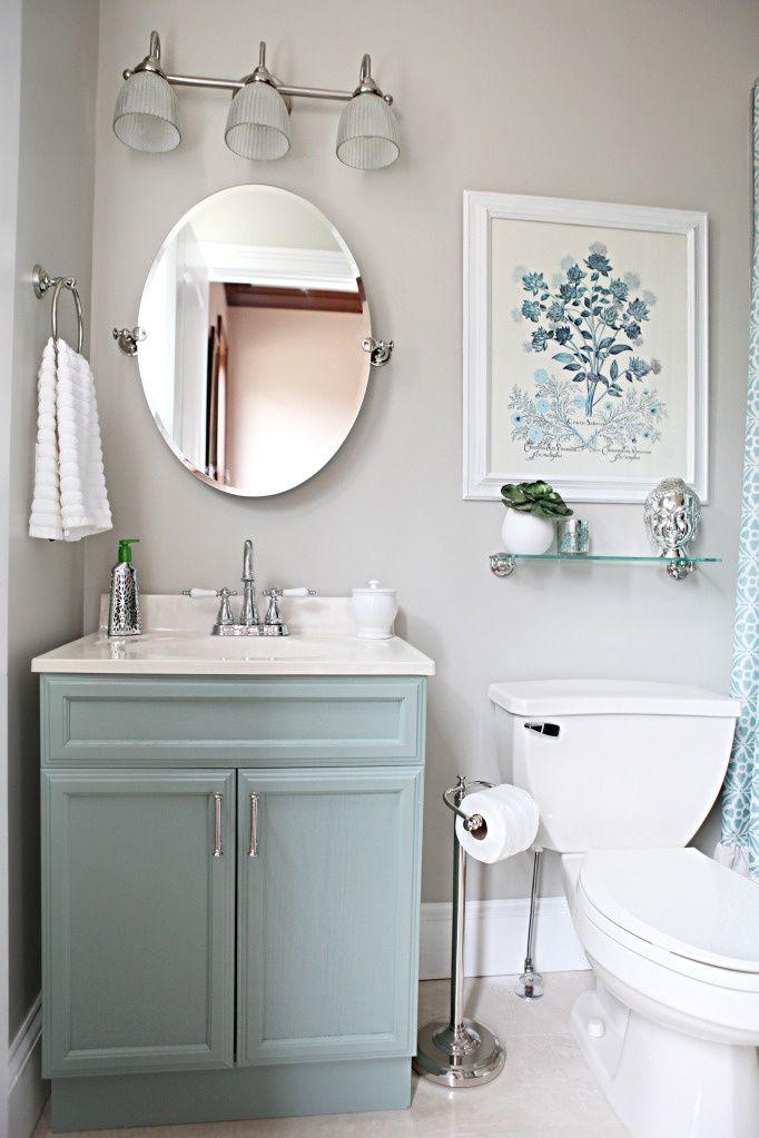bathroom - mushroom grey walls, nickel fixtures and accessories
