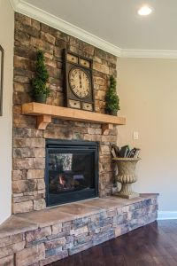 Our fireplace finally finished. Dry stack stone.