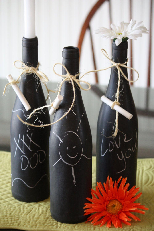 Chalk Wine Bottle Decor popular repinned by 1866JUNKRUN  Popular on Pinterest  Pinterest