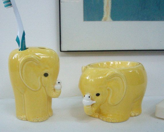 mid century vintage elephant bath accessories set soap dish