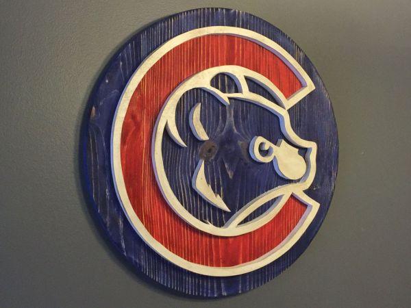 Custom Chicago Cubs Hand Scrolled Wood Logo 3d Wall Art