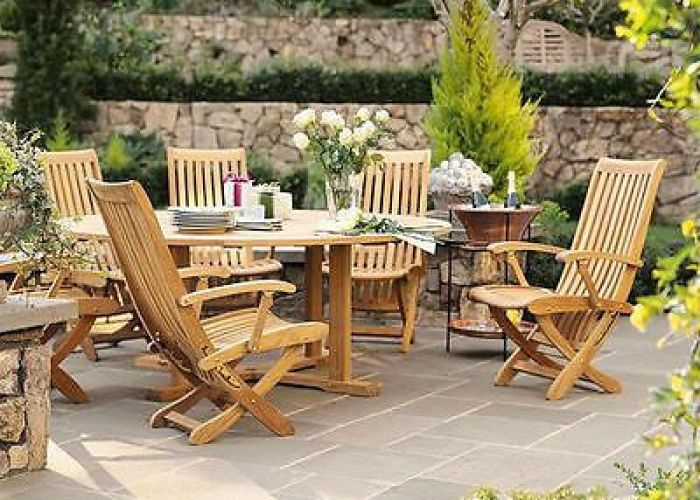 pc teak dining set garden outdoor patio furniture  warwick reclining chairs also