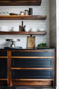 Wooden open shelving subtile kitchen design