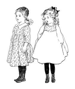 vintage school girl clip art, old school graphics