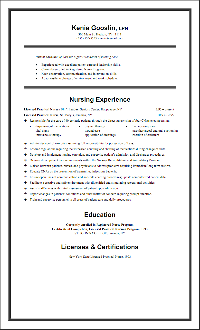 Sample LPN Resume One Page For My Love Pinterest Resume