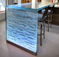 "Magnificent 2"" thick glass countertop with LED lighting ..."