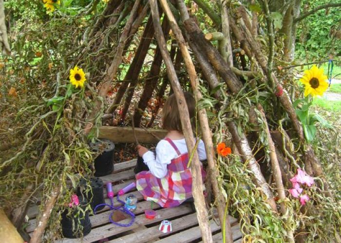 Let the children play playful ideas for using pallets at preschool also fairy den all need one  to build this my