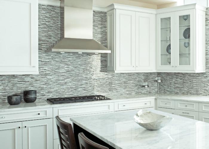 Glass tile backsplash white cabinets mosaic linear tiles kitchens blue brown gray also sk