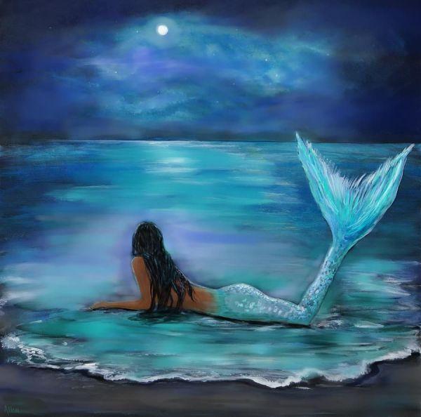 Mermaid Moon Painting