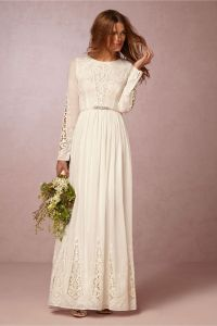 Long sleeve wedding dress. Bridal gown. Hippie style ...