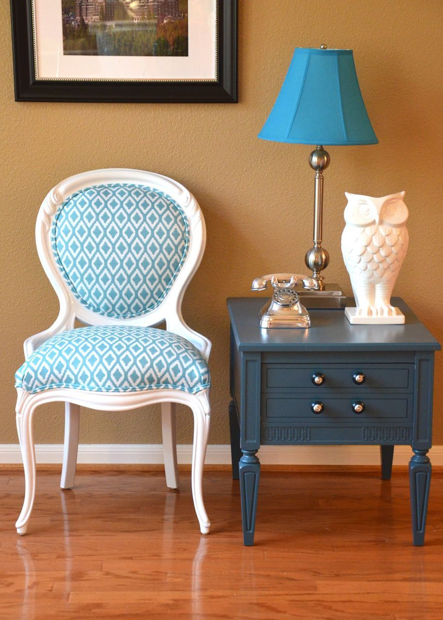 Blue And White Upholstered Chairs