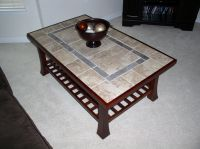 Refinished coffee table with a tile top and new wood ...