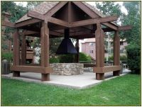 Classic Outdoor Gazebo Designs With Fire Pit Idea Picture ...
