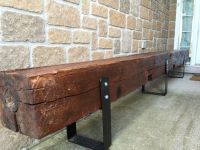 Old hand hewn barn beam bench. | Barnwood decor ...
