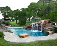 Texas Custom Moss Rock Waterfall with beautiful water ...