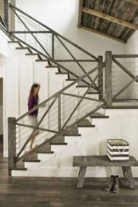 coastal california farmhouse; stair railing idea...could ...