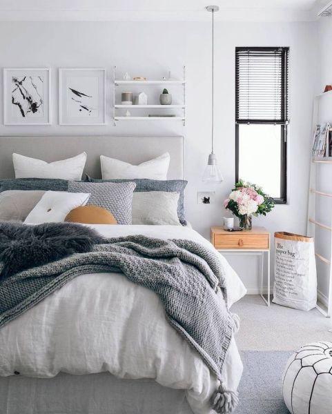 scandinavian bedroom design grey 60 Simple and Elegance Scandinavian Bedroom Designs Trends | Scandinavian bedroom design, Simple